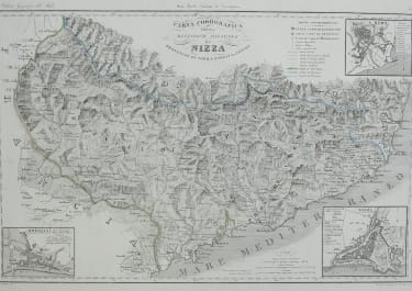 RARE ITALIAN MAP OF THE NICE MONACO, ST REMO TENDE REGION