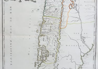 RARE MAP OF CHILE BY SANSON 1656