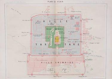 INTERESTING PLAN OF PEKING   BEIJING 1870