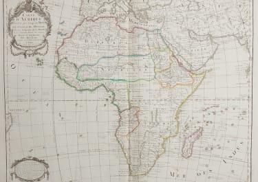 LARGE FOLIO MAP OF AFRICA  DE L'ISLE ..DEZAUCHE