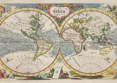 JEFFERYS SMALL DECORATIVE WORLD MAP