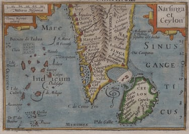 RARE LANGENES BERTIUS MAP OF SOUTH INDIA & CEYLON