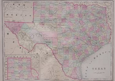 BRADLEY'S LARGE LITHOGRAPH MAP OF TEXAS