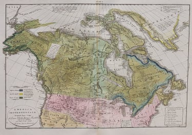 RARE MAP OF CANADA WITH DISCOVERIES OF LEWIS  CLARKE  PARRY  ETC