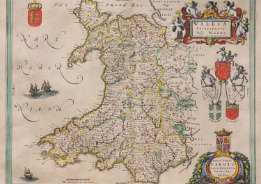 BLAEU'S FOLIO MAP OF WALES  WITH ORIGINAL COLOUR