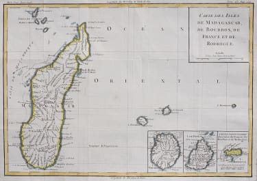 MAP OF MADAGASCAR WITH INSET OF ISLANDS  BOURBON, FRANCE & RODRIGUE UNCOMMON