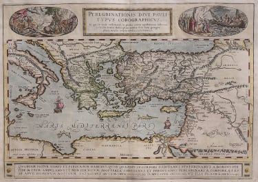ORTELIUS MAP OF THE PEREGRINATIONS OF ST PAUL