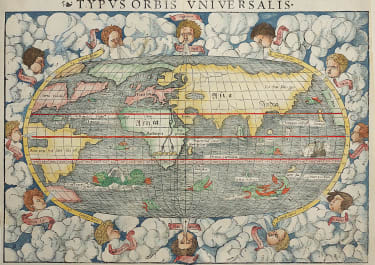 MUNSTER  SUPERB 1550 MAP OF THE MODERN WORLD