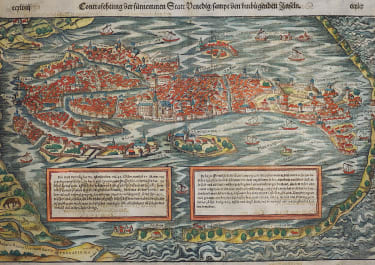MUNSTER  EARLY MAP ..BIRDS-EYE VIEW OF VENICE