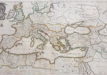 MELCHOIR TAVERNIER'S LARGE RARE MAP OF THE ROMAN EMPIRE 1637