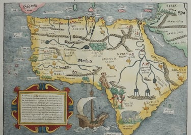 MUNSTER'S MAP OF AFRICA FIRST AVAILABLE MAP OF CONTINENT 1552 EDITION