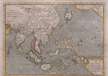 MAGINI'S MAP OF THE EAST INDIES  CHINA JAPAN & BORNEO etc