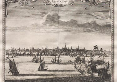 VAN DER AA VIEW OF AMSTERDAM WITH GALLEONS