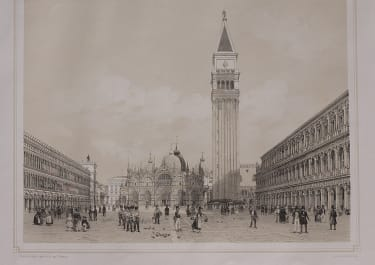 SUPERB LITHOGRAPH OF VENICE  ST MARK S SQUARE   BY F BENOIST
