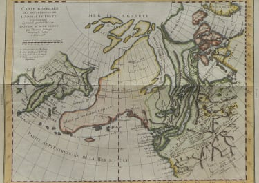 VAUGONDY'S MAP OF THE PROBABLITY OF A NORTH WEST PASSAGE 1772