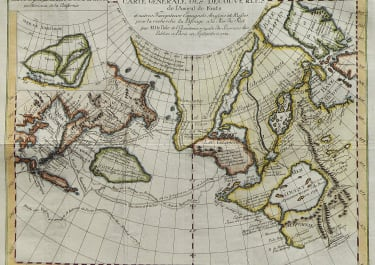INTERESTING NORTH PACIFIC & NORTH WEST PASSAGE MAP BASED ON DE L'ISLE'S GEOGRAPHY ET AL