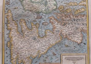 MUNSTER'S MAP OF BRITISH ISLES ENGELLANDT  AFTER ORTELIUS 1588