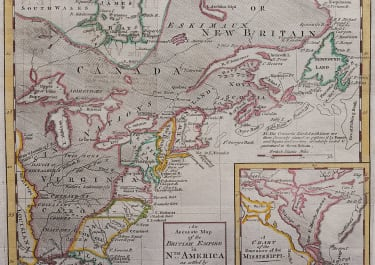 IMPORTANT MAP OF NORTH AMERICA  COLONIES AFTER INDIAN WARS  1762