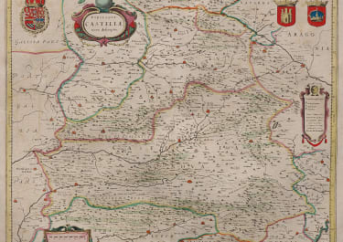 HONDIUS MAP OF CASTILLE  MADRID TOLEDO CORDOBA...
