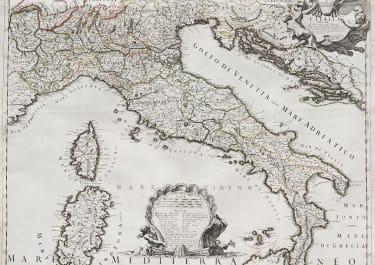 RARE MAP OF ITALY BY   CANTELLI DA VIGNOLA  & GIACOMO GIOVANNI ROSSI