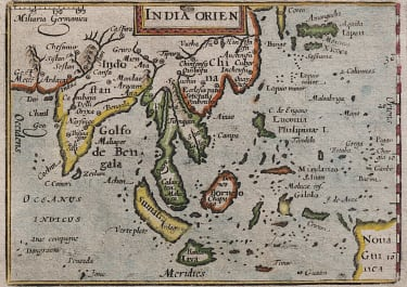 LANGENES MAP OF SOUTH EAST ASIA PUBLISHED BY BERTIUS 1602