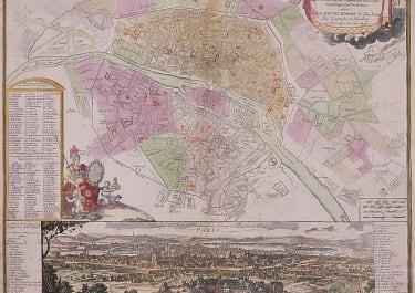 HOMANN'S SCARCE PLAN AND PANORAMA OF PARIS