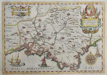 RARE MONTECALERIO MAP OF PROVENCE 1643