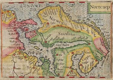 BERTIUS EDITION OF LANGENES BARENTS MAP OF SCANDINAVIA
