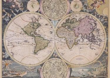 HOMANN SUPERB DECORATIVE WORLD MAP