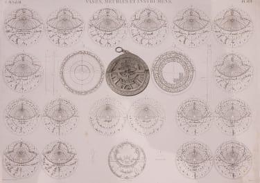 RARE ORIGINAL ENGRAVING OF ASTROLABE FROM DESCRIPTION D'EXPEDITION EN EGYPT