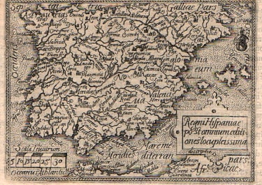 SPAIN  ORTELIUS RARE EARLY FIRST EDITION EPITOME MAP