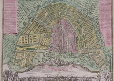 AMSTERDAM  STUNNING PLAN AND PROSPECT OF THE CITY BY HOMANN