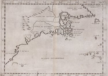RARE ONE OF THE EARLIEST MAPS OF NORTH EAST AMERICA .. RUSCELLI