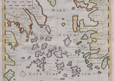 RARE MAP OF THE AEGEAN SEA     BY  WELLS