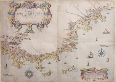 RARE LARGE MAP OF THE COAST OF PROVENCE  TASSIN 1628c