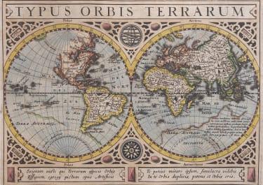 MERCATOR HONDIUS WORLD MAP  CALIFORNIA ISLAND  FROM ATLAS MINOR