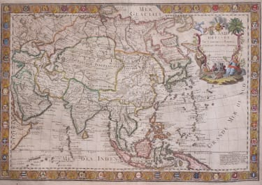 DANET  ELEPHANT FOLIO MAP OF ASIA  DECORATIVE SCARCE