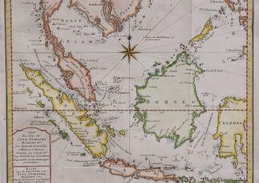 JAVA  BORNEO  SUMATRA   SCARCE DUTCH BELLIN MAP 1760