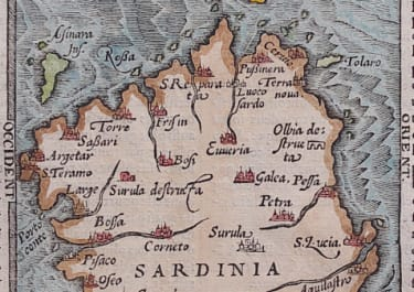 SARDINIA  RARE MAP BY BELLEFOREST 1575