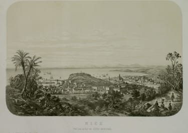 SUPERB RARE LARGE LITHOGRAPH OF NICE BY LEBRETON