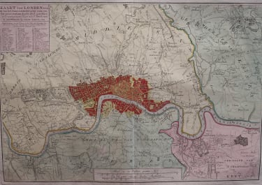 RARE MAP OF LONDON BY TIRION BASED ON JOHN ROQUES SURVEY