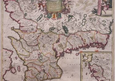 STUNNING ORIGINAL COLOUR MAP OF SOUTHERN SWEDEN  DE WIT