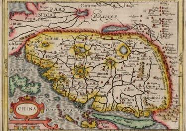 MERCATOR HONDIUS MAP OF CHINA    KOREA ISLAND