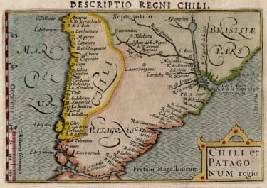 LANGENES  EARLY MAP OF CHILE AND PATAGONIA 1598