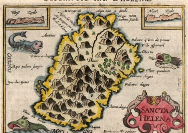 LANGENES EARLY MAP OF ST HELENA 1598