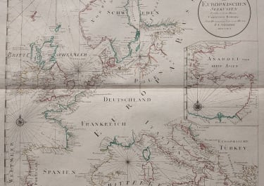 RARE SEA CHART OF EUROPE & SCANDINAVIA BY SCHRAEMBL