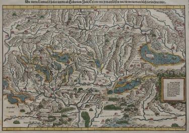 STUMPF   SWITZERLAND   VERY RARE MAP OF THE WHOLE OF SWITZERLAND