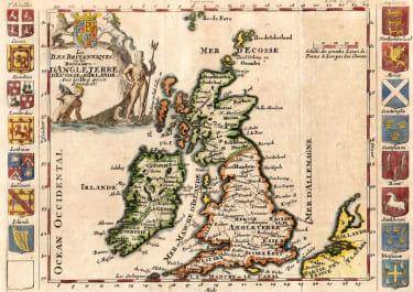SCARCE DE LA CRIX MAP OF THE BRITISH ISLES