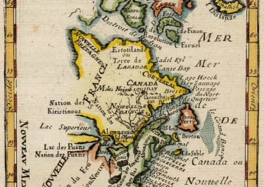 MALLET 1683 MAP OF CANADA  BOSTON AND NEW YORK
