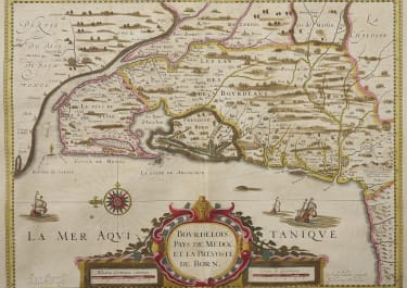 JANSSONIUS  MAP OF BORDEAUX BAYONNE BIARRITZ WINE AREAS MEDOC ETC